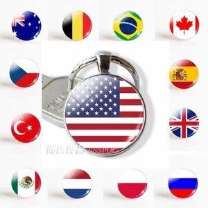 USA-Flag-UK-Israel-Spain-Glamour-Glass-Dome-Keyring-Women-Men-Fashion-Keychain