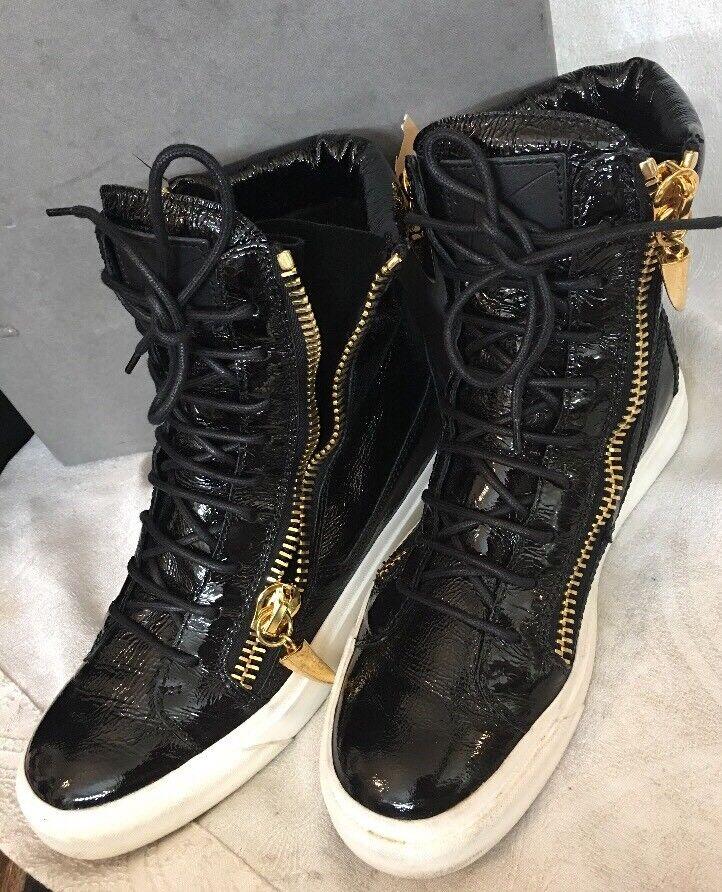 Guisseppi Zanotti - hi parte superior demon zapatos negros patentados, anchos, de malla dorada 39