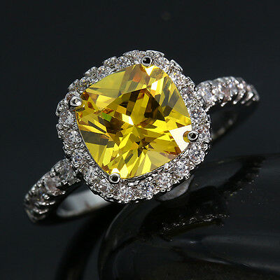 Unisex Silver Cut White/Pink/Yellow Topaz Gemstone Wedding Rings Jewelry Sz 6-9