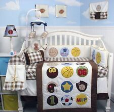 BOY CRIB BEDDING SET SUPER SPORTS FAN Infant Baby Nursery 14 Pieces Quilt & More