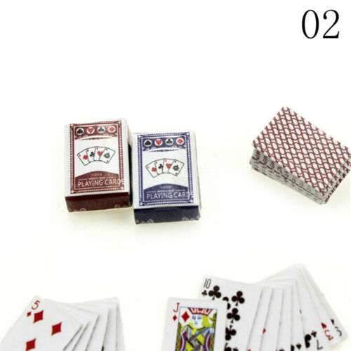 1Set 1:6//1:12Dollhouse Miniatures Accessories Playing Card Poker Home Bar LL