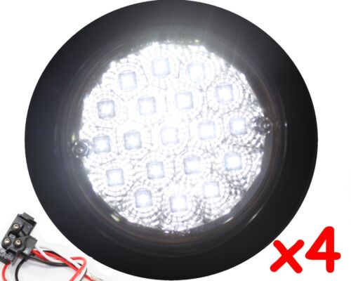 """4 Round White Truck Trailer 4/"""" Back-up Reverse Fog LED LIGHT Bright Grommet plug"""