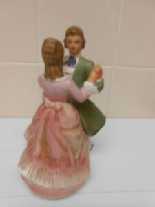 vintageJapan hand painted musical 18th century coupledancing 'somewhere my love'