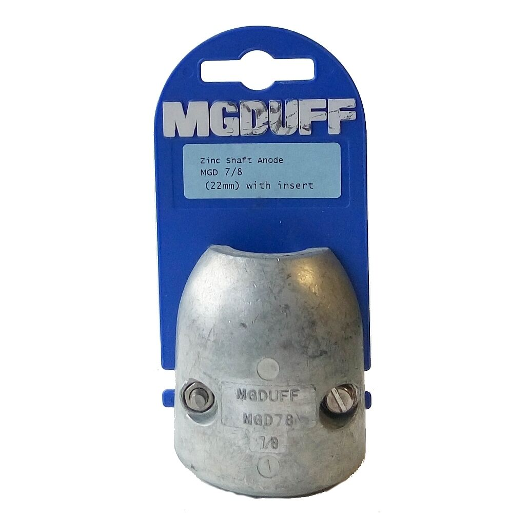 M.G.Duff Zinc Shaft Anode With Insert - 22mm   25mm   31.7mm   40mm Sizes Avail