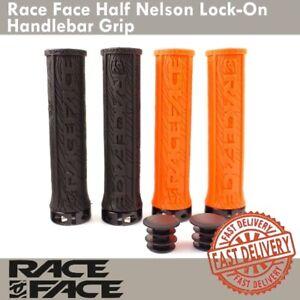 Black Race Face Half Nelson Lock-on Handlebar Grips MTB XC DH Bike Orange
