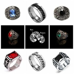 Men-Women-Couple-Black-Crystal-Red-Ruby-Stainless-Steel-Ring-Silver-Band