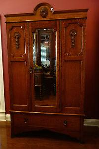 ... Antique English Carved Tiger Oak ARMOIRE WARDROBE Arts