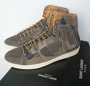 c99f15b28c228 SAINT LAURENT SL/18H CAMO CAMOUFLAGE Suede High-Top Sneakers Shoes ...