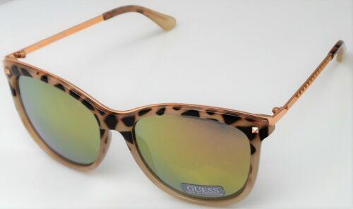 GUESS GF0302 56C Ladies Leopard Frame Mirror Lens Designer Sunglasses NEW