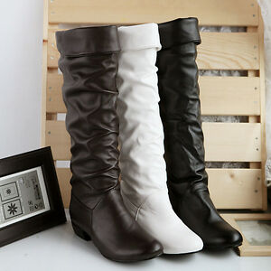 2015-Womens-Warm-Low-Heel-Pleated-Knee-High-Riding-Pull-On-PU-Leather-Boots-SZ