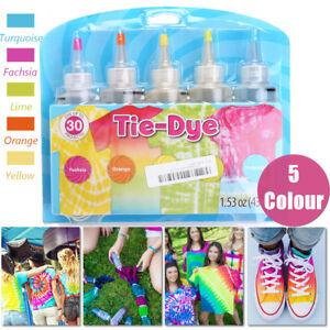 3f73f4da7ecb 5x Bottles 43.4g 1.53oz Tie Dye Kit + 40 Pcs Rubber Band + 4 Pairs ...