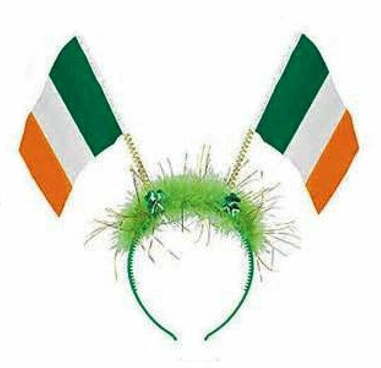Green Glitter Shamrock St Patricks Day Head Bopper Headband Ireland Flag