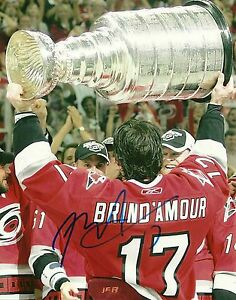 Rod-Brind-039-Amour-Hand-Signed-8x10-Stanley-Cup-Photo-Carolina-Hurricanes-NHL