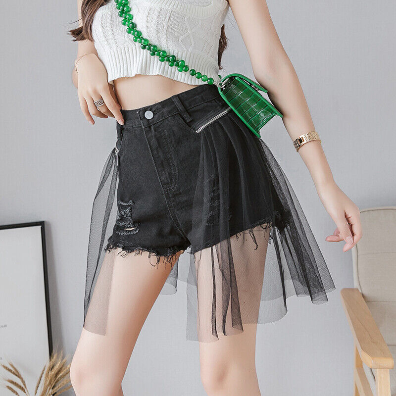 Damen Denim Shorts Hotpants Netz Gespleißter Zerrissen Freizeit Sexy Chic Sommer