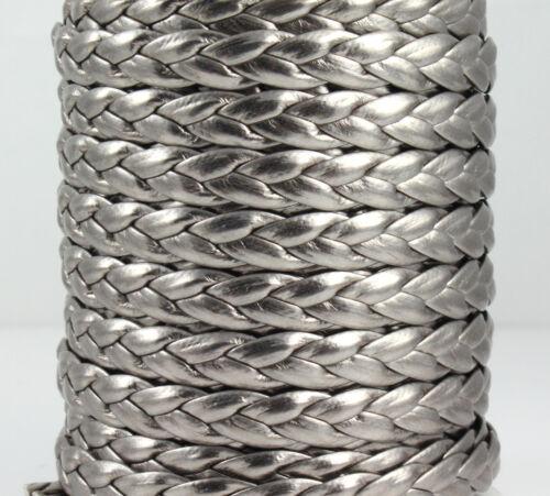 1 m art cordon cuir tressés anthracite métallisé 6 x 2 mm Bracelet Fabrication