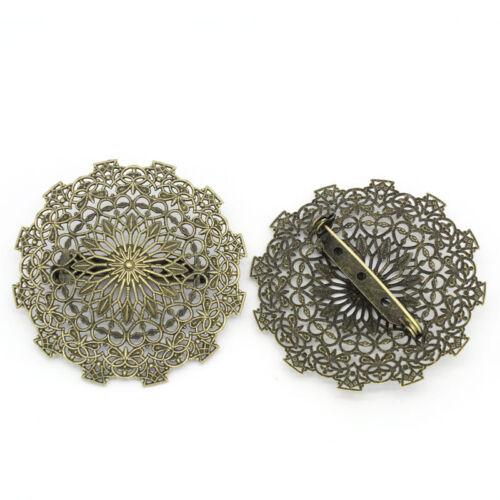 25 épingles broche rond fleur image ciselé couleur bronze 5.5*5.5CM B28285