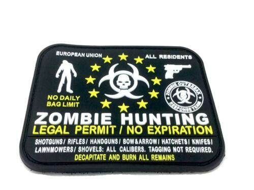 Zombie Hunting EU Legal Permit All Residents Black PVC Airsoft Patch