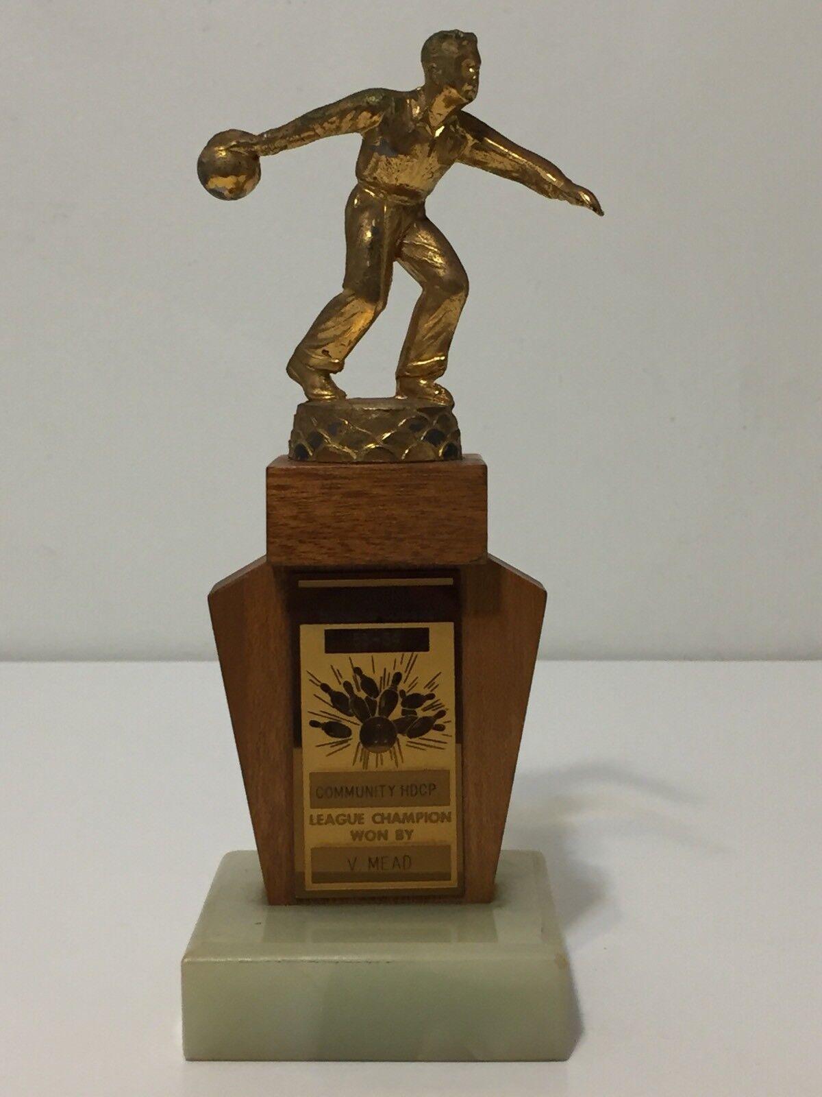 Vtg 50s Mens Bowling Trophy Metal Topper Wood Marble Base 1953 1954 Pasadena CA