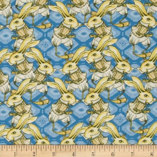 "Tina Givens Riddles & Rhymes Royal Blue Bunny Cotton Fabric 5y 10"" Free Ship"