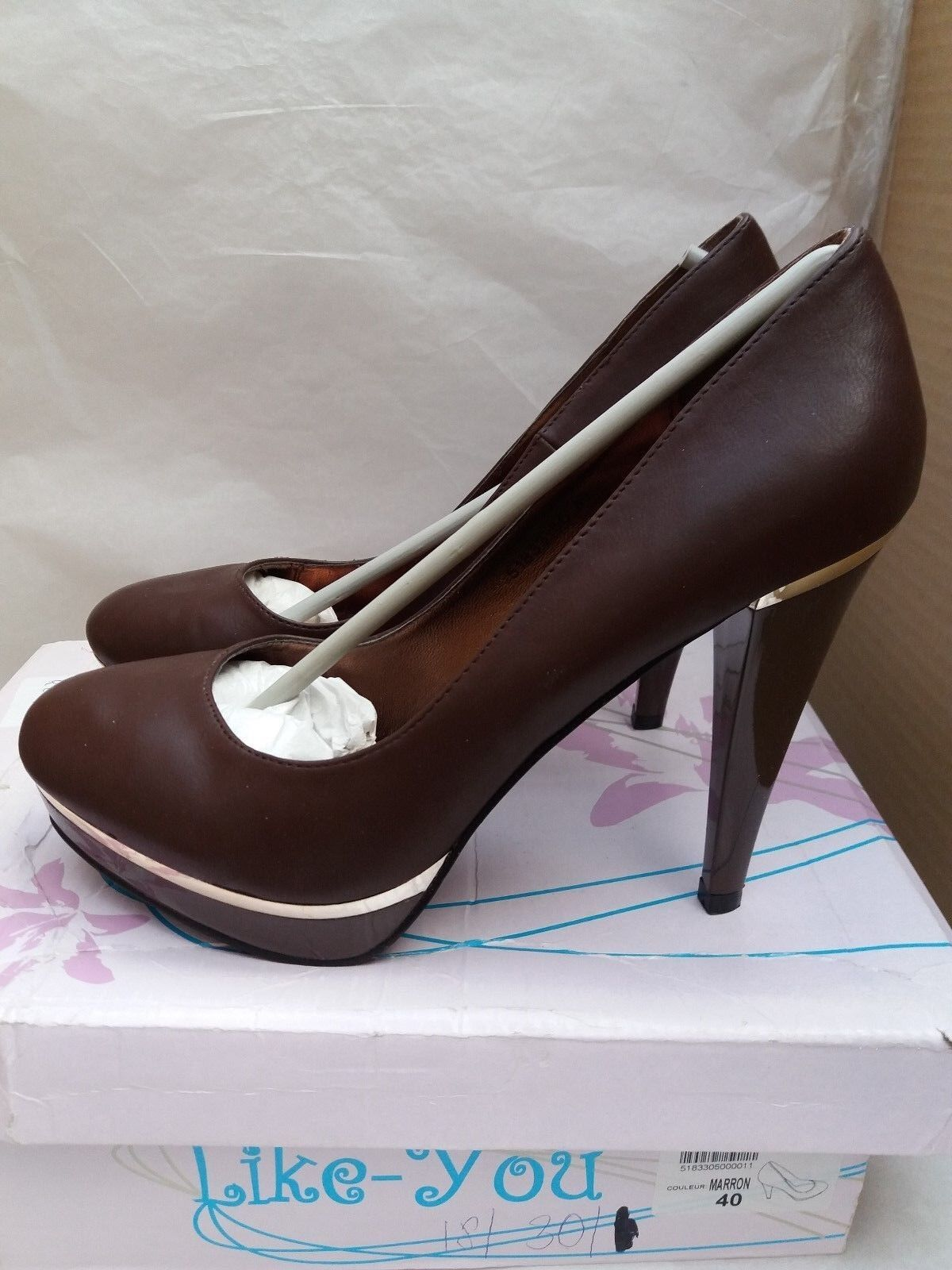 Signore mozzafiato Brown & Gold scarpe con tacco a stiletto da come si misura /EU 40