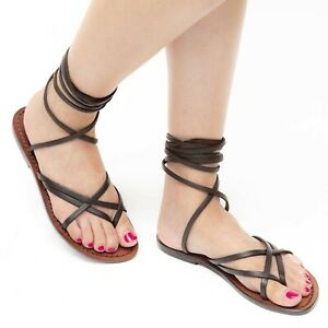4ac857ccf1262 Details about Handmade women's dark brown genuine leather strappy sandals  Made in Italy