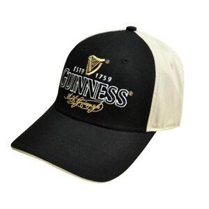 Guinness-Black-and-Cream-Traditional-Cap-Gaelic-Irish-Ireland-Baseball-Hat-NEW