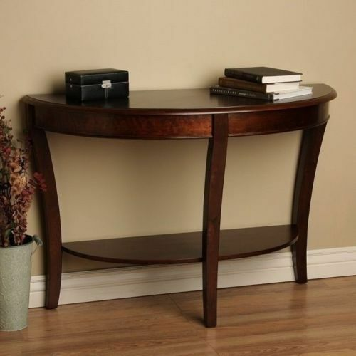 Half Round Traditional Sofa Entryway Table Wood Walnut Finish Semi