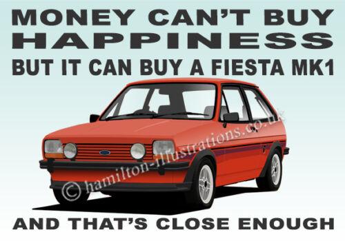 Ford Fiesta Mk1 Supersport S XR2 Art illustration Key Ring **RED**
