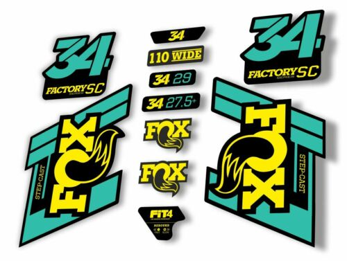 FOX 34 Step Cast SC 2019 Fork Suspension Factory Decal Sticker Dolphin Yellow