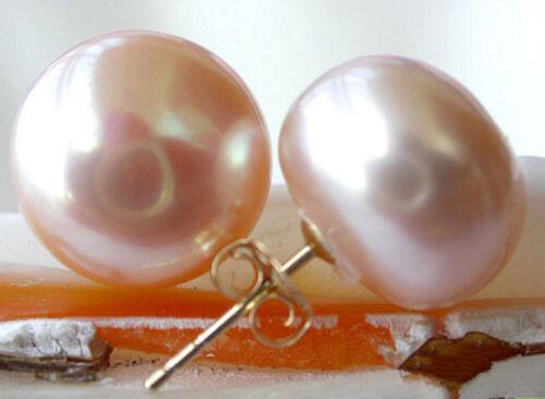 Énorme 11-12 mm Naturel Rose D/'eau Douce Pearl 14K Plaqué or Boucles d/'oreilles Clou