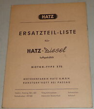 Teilekatalog Hatz Diesel Motor E 75 Stand 11/1960