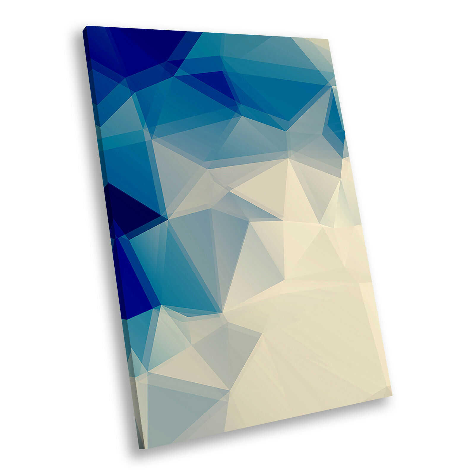 Blau Cream Geometric Portrait Abstract Canvas Wall Art Large Picture Prints