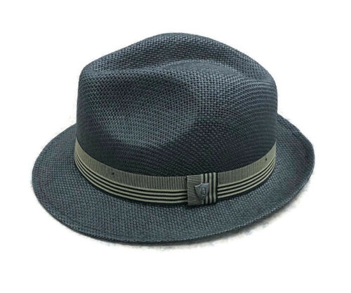 Dorfman Pacific Men/'s Toyo Black Straw Fedora with Ribbon MS386-BLK