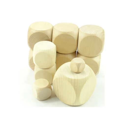 Natural Wooden Blank Plain Dices Cubes Hardwood Six Sided Toy Game 10mm 60mm