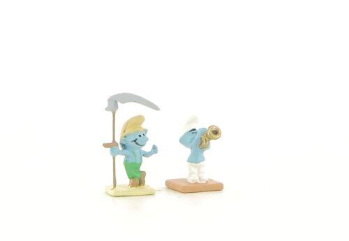 Schtroumpf Musicien Et Le Schtroumpf Paysan N°36 Neuf figurine village