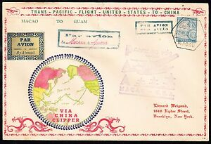MACAO-285-ON-WEIGAND-CACHET-FROM-MACAO-TO-GUAM-TRANS-PACIFIC-FLT-COVER-BT6799