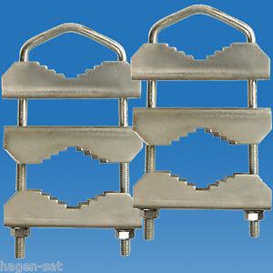 2-x-Mastschelle-U-Buegel-Mast-Doppelschelle-Mast-Dreifachschelle-Masthalter