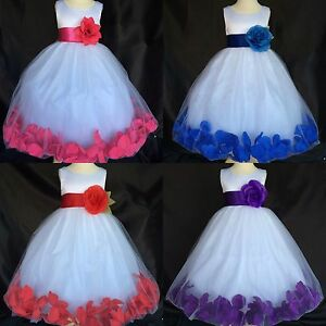 White Tulle Flower Girl Dress Satin Red Purple Royal Blue Red Easter