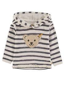 STEIFF-Hoodie-Sweatshirt-gestreift-Ringel-marine-weiss-Mini-Girl-6913053-NEU