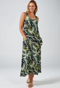 Green Multi Kim /& Co Brazil Jersey Sleeveless Hi-Low Hem Maxi Dress  Large /& New