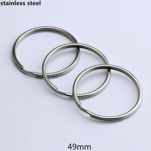 Big Stainless Steel Split Key Ring Keychain  Keyring Hoop Ring Plated Loop 49mm
