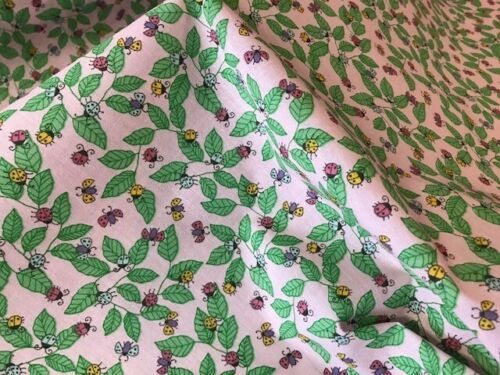 ladybirds  POLY COTTON FABRIC MATERIAL CRAFT DRESS leaf pink  insects leaf