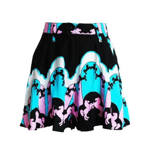 Carousel Jive Shortie High Waisted Shorts Whimsical Retro Fairground S M L