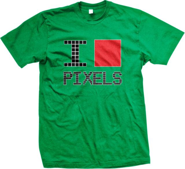 I Heart Love Pixels Nerd Geek Artistic Joke Funny Humor Mens V-neck T-shirt