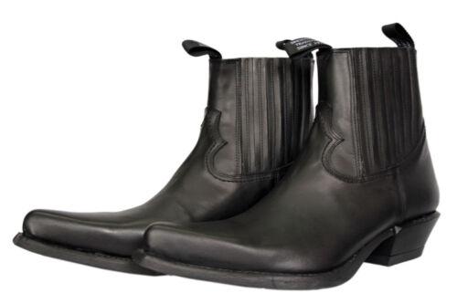 Leather da Ankle scarpe Heel Black cowboy Newrock Plain Comode 7953 6wqxgt