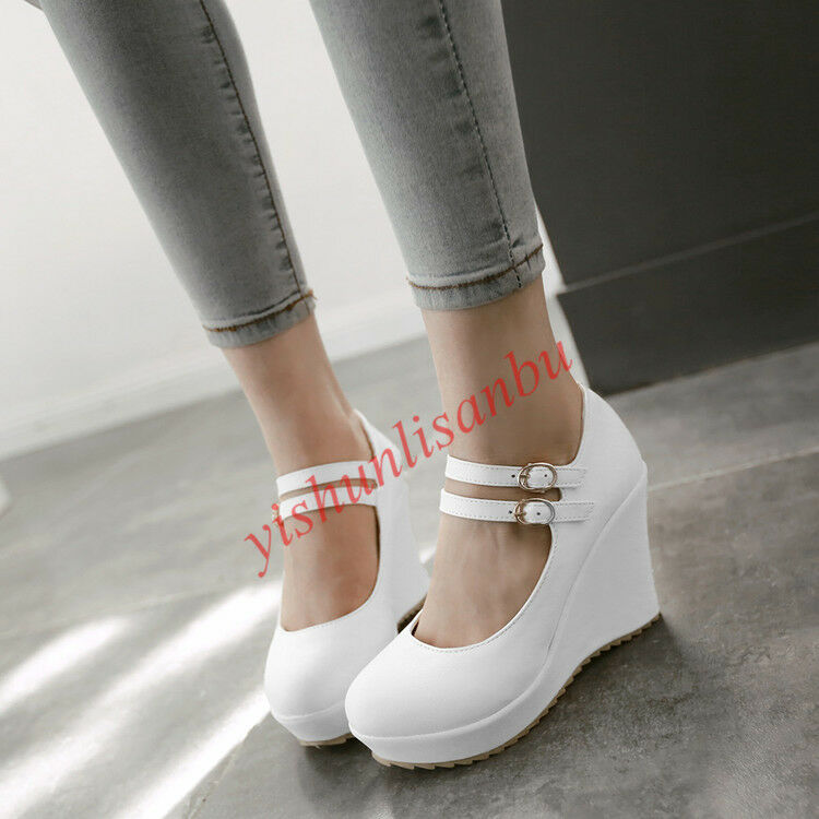 Lady Cute Girls Platform Wedding Buckle Womens Wedge Heel Mary Janes shoes Pumps