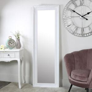 Dettagli su SPECCHIO Parete Bianco Alto vintage shabby chic e arredamento  camera da letto bagno più MAGRI- mostra il titolo originale