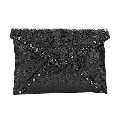 Women Skull Spike Envelope Clutch Purse Lady Handbag Tote Hobo Shoulder Hand Bag