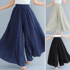 Mode-Femme-Couleur-Unie-Ample-Casual-Jambe-Large-Taille-elastique-Pantalon-Plus