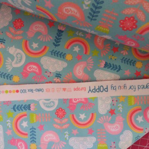 Rainbow Birds Flowers Soft Shell Shower Proof Fabric 140cm Wide Fleece Lined